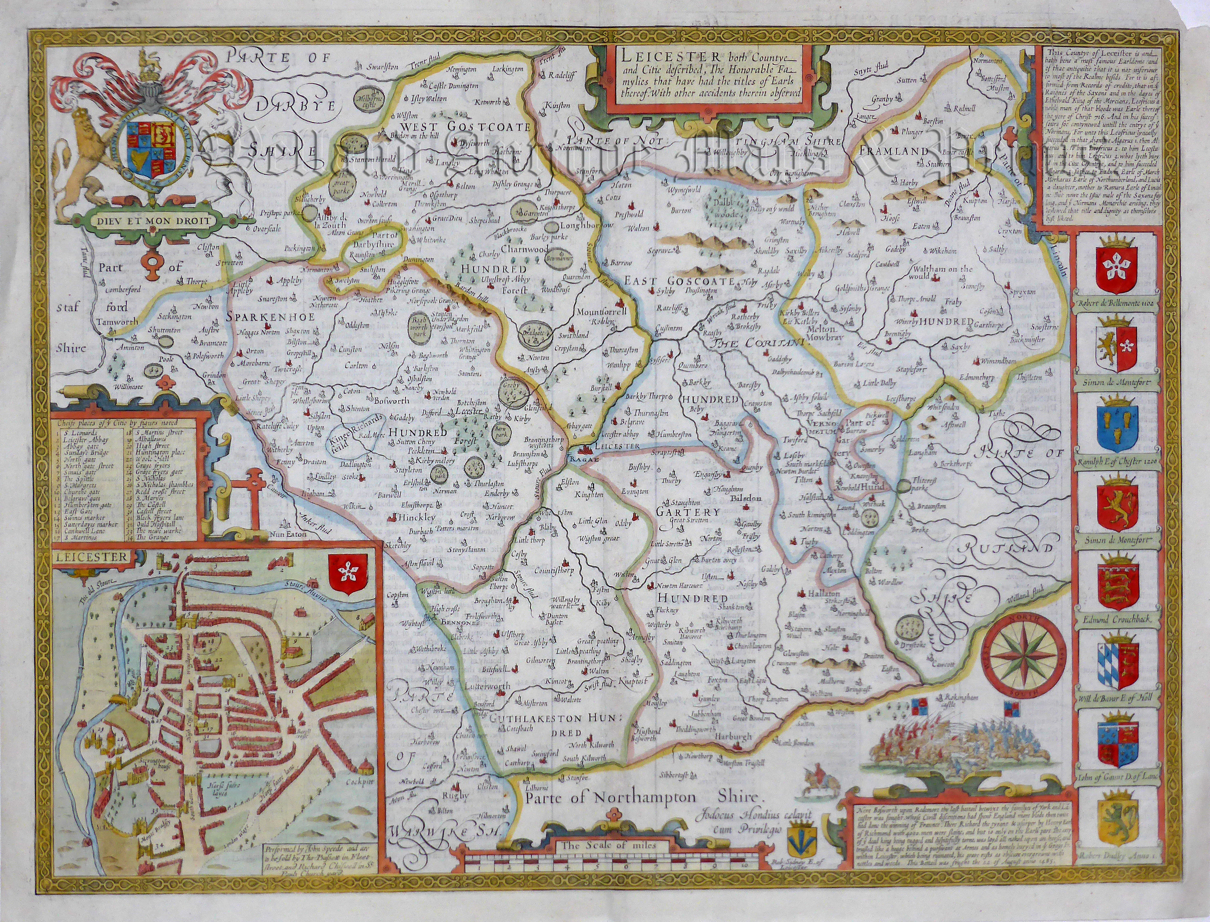 Leicestershire Uk Map.Leicester Both Countye And Citie Described Leicestershire By