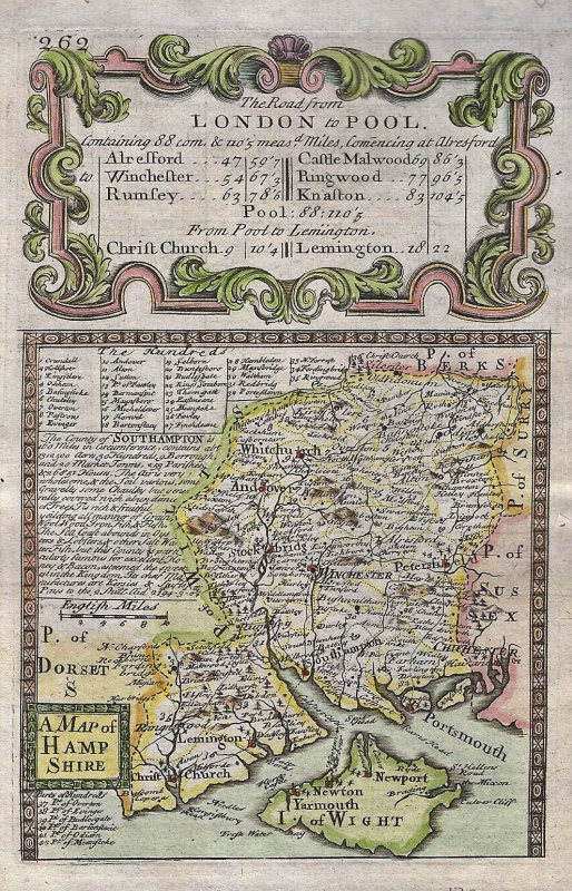 'A MAP of HAMP SHIRE' by J. Owen & E. Bowen c.1720