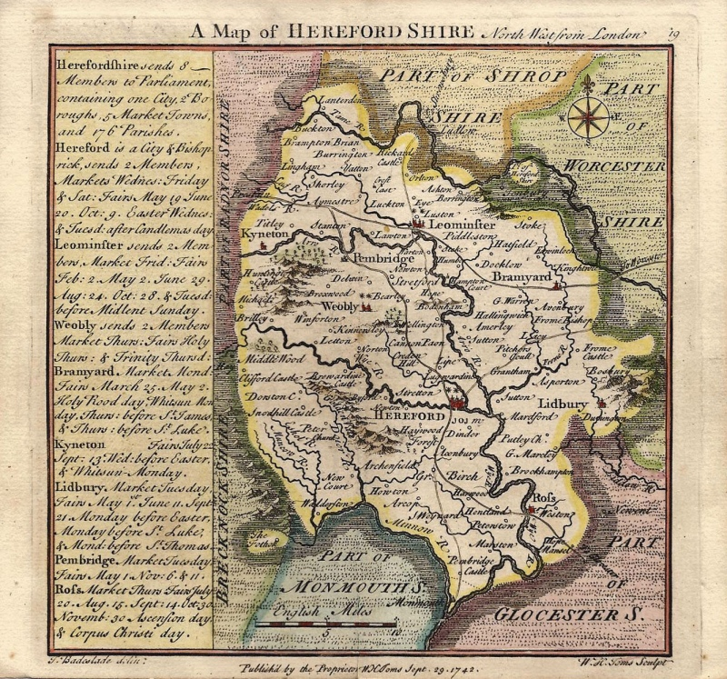 'A MAP of HEREFORDSHIRE North West from London' by T. Badeslade / W. H. Toms c.1742