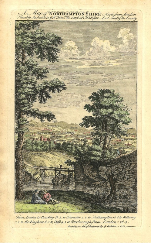 'A Map of NORTHAMPTONSHIRE North from London' by George Bickham c.1743-1755