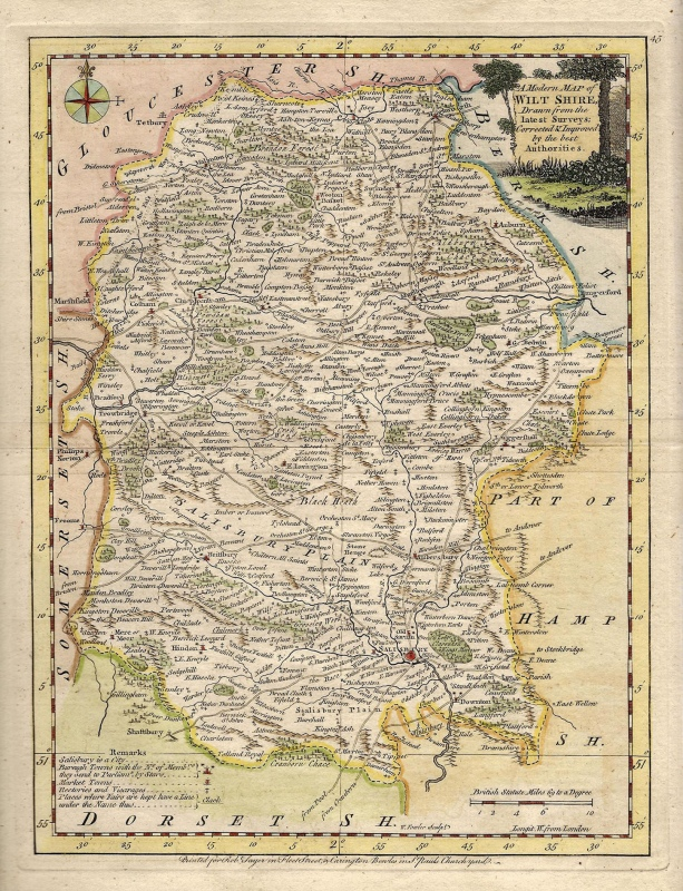 'A Modern MAP of WILT SHIRE Drawn from the latest Surveys' by J. Ellis / W. Fowler c.1765