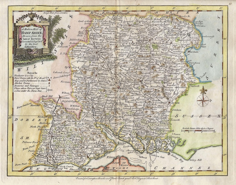'A Modern Map of HAMPSHIRE' by J. Ellis c.1765