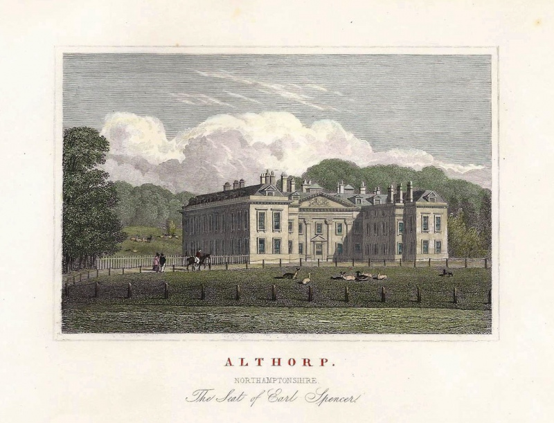'ALTHORP. NORTHAMPTONSHIRE. The Seat of Earl Spencer' by J. P. Neale / W. Radclyffe c.1829