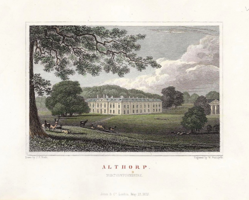 'ALTHORP. NORTHAMPTONSHIRE.' (plate 2) by J. P. Neale / W. Radclyffe c.1829