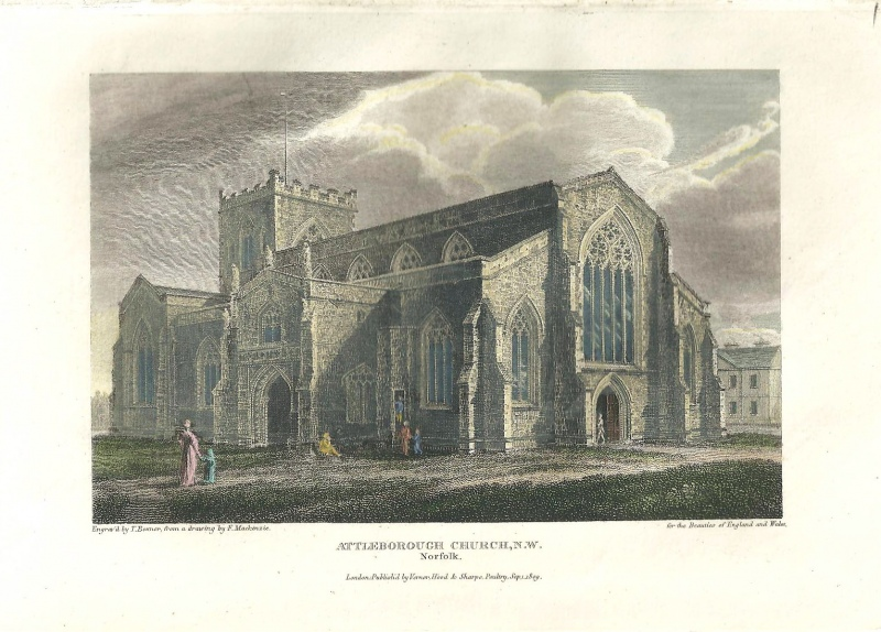 'ATTLEBOROUGH CHURCHN.W. Norfolk.' by Mackenzie / Benner c.1809