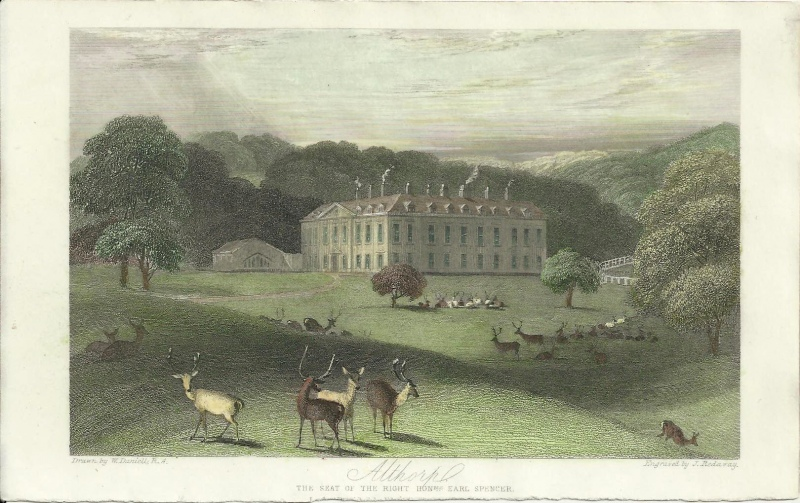 'Althorp The Seat of the Right Honble Earl Spencer.' by W. Daniell R. A. / J. Redaway c.1840s