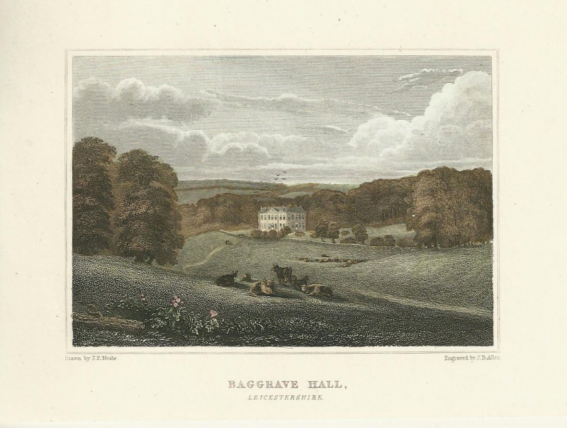 'BAGGRAVE HALL LEICESTERSHIRE' by J. P. Neale / J. B. Allen c.1829