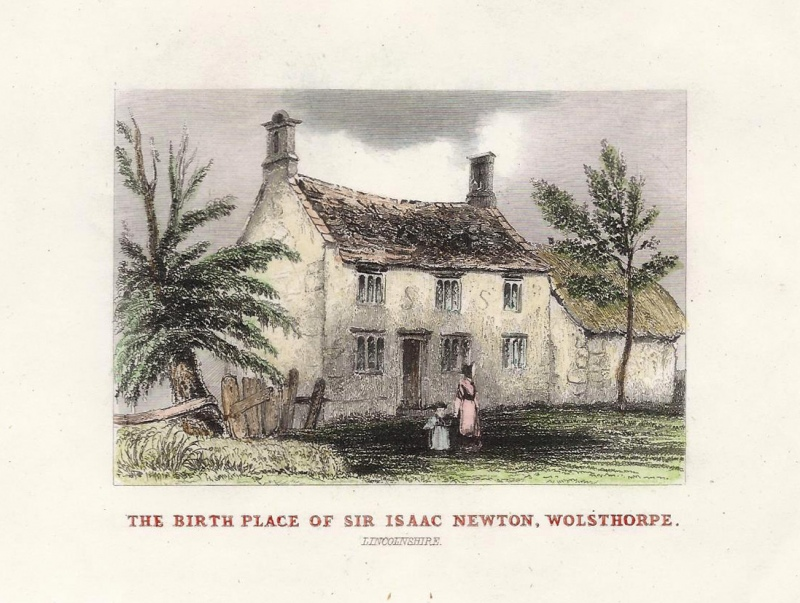 'THE BIRTH PLACE OF SIR ISAAC NEWTON WOLSTHORPE' by T. Dugdale c.1840s