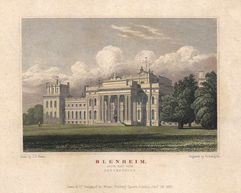 'BLENHEIM SOUTH EAST VIEW. OXFORDSHIRE' by J. P. Neale / W. Radclyffe c.1831