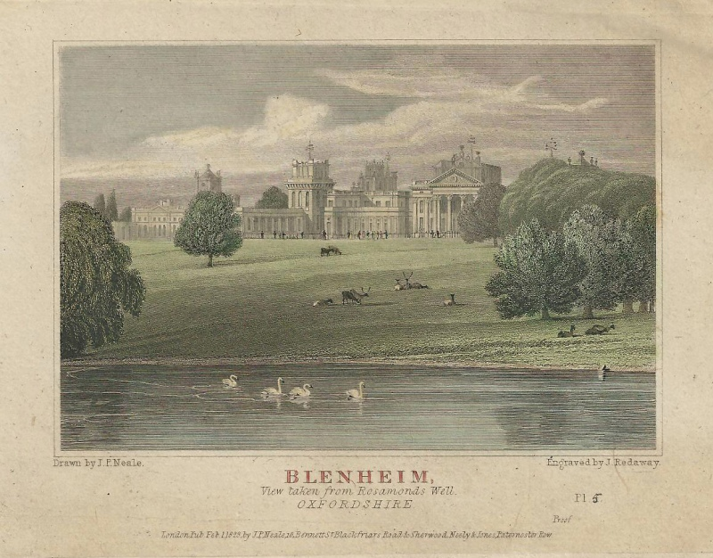 'BLENHEIM View taken from Rosamonds Well OXFORDSHIRE' by J. P. Neale / J. Redaway c.1829 (proof)