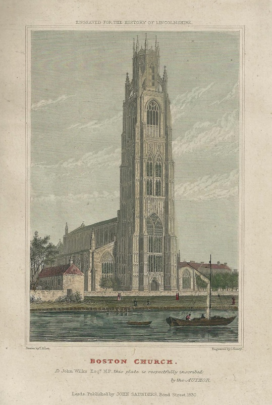 'BOSTON CHURCH.' by T. Allen / J. Shury c.1830