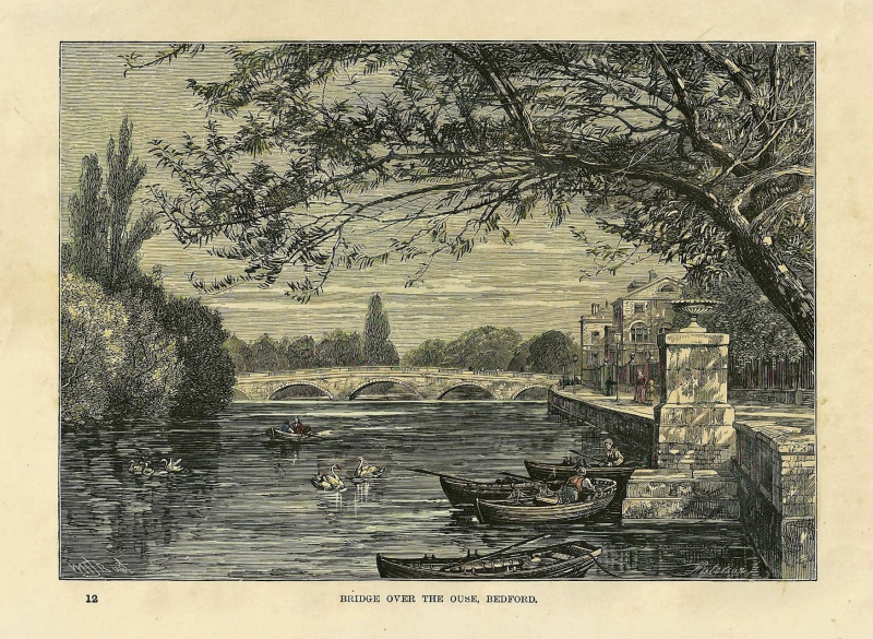 'BRIDGE OVER THE OUSE BEDFORD.' by W. H. J. Boot / Paterson c.1890