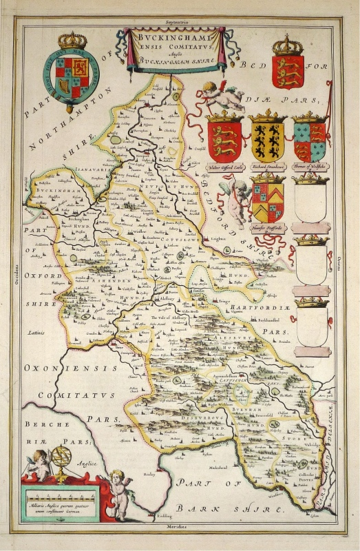 'BUCKINGHAMIENSIS' Buckinghamshire by Joan Blaeu c.1645