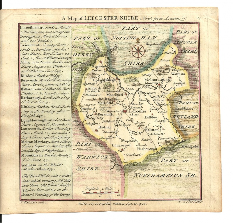 'A Map of LEICESTER SHIRE North of London' by T. Badeslade & W. H. Toms c.1742