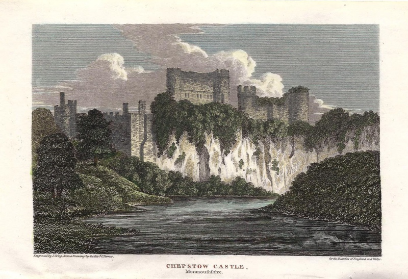 'CHEPSTOW CASTLE Monmouthshire.' by Revd C. Turnor / J. Grieg c.1811 (Beauties of England & Wales)