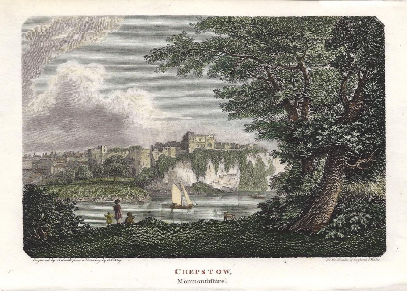 'CHEPSTOW Monmouthshire.' by G. Varley / S. Smith c.1801 (Beauties of England & Wales)