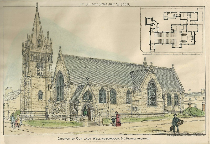 'CHURCH OF OUR LADY WELLINGBOROUGH' by 'The Building News' c.1886