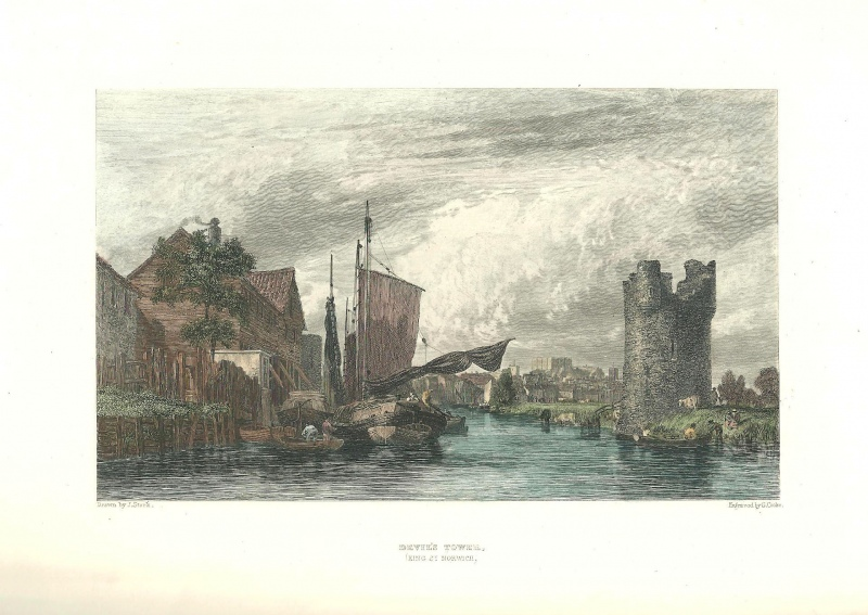 'DEVIL'S TOWER (King St. Norwich) by J. Stark / G. Cooke c.1834