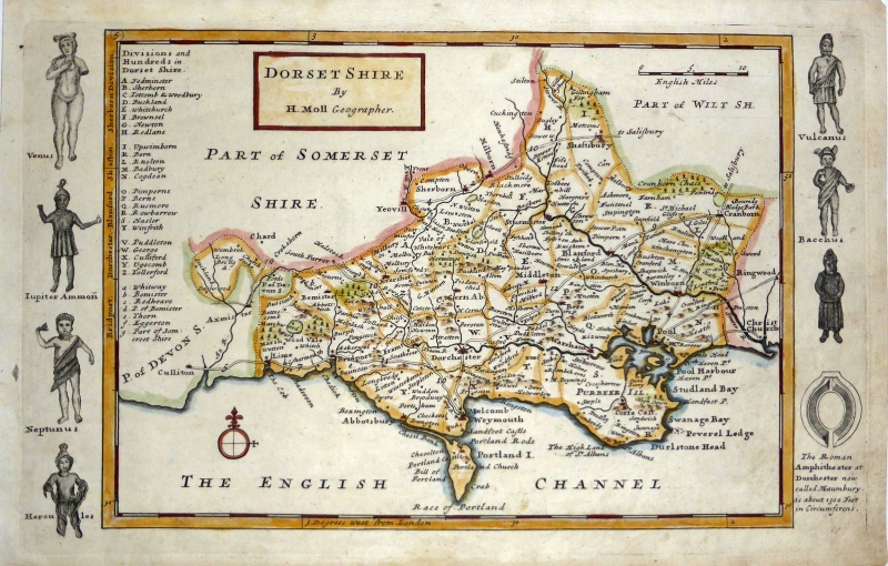 'DORSET SHIRE  By H. Moll Geographer.' c.1724-1739