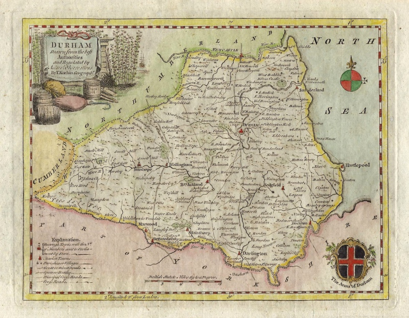 'DURHAM Drawn from the best Authorities' by Thomas Kitchin c.1786 (ex Boswell atlas)