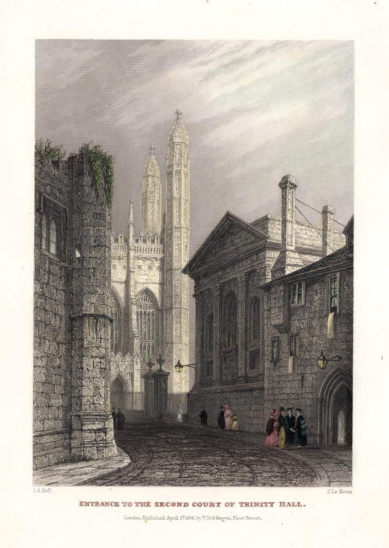 'ENTRANCE TO THE SECOND COURT OF TRINITY HALL.' by I. A. Bell / J. Le Keux c.1841
