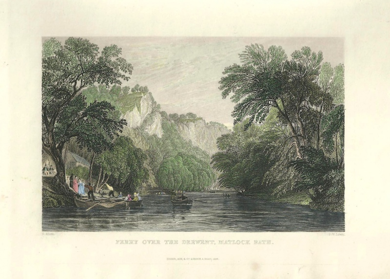 'FERRY OVER THE DERWENT MATLOCK BATH' by T. Allom / J. W. Lowry c.1836
