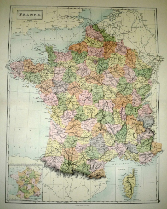 FRANCE. IN DEPARTMENTS by Bartholomew/ A. & C. Black c.1873