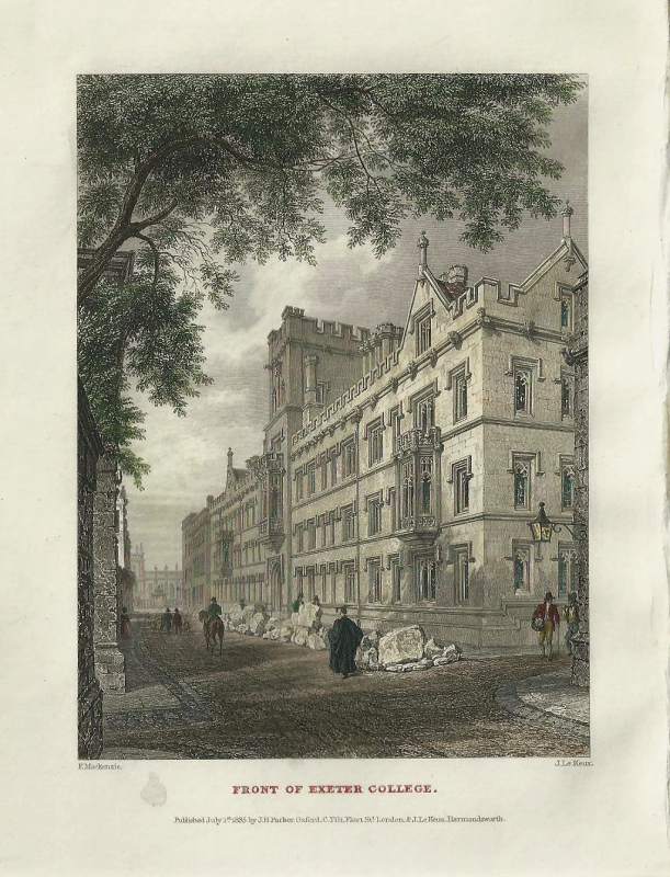 'FRONT OF EXETER COLLEGE.' by F. Mackenzie / J. Le Keux c.1835 1837