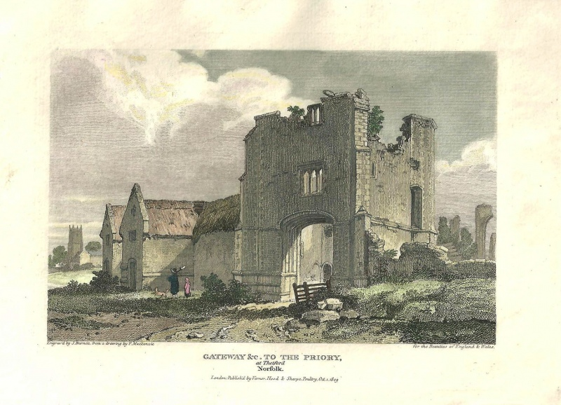'GATEWAY &c. TO THE PRIORY at Thetford Norfolk' by Mackenzie / Burnett c.1809