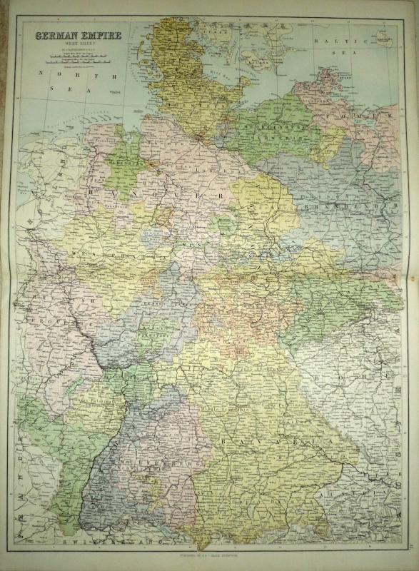 GERMAN EMPIRE (west sheet and east sheet) by Bartholomew/ A & C Black c.1873