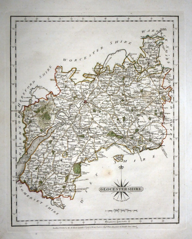 'GLOCESTERSHIRE By JOHN CARY Engraver.' c.1787 (New & Correct English Atlas)