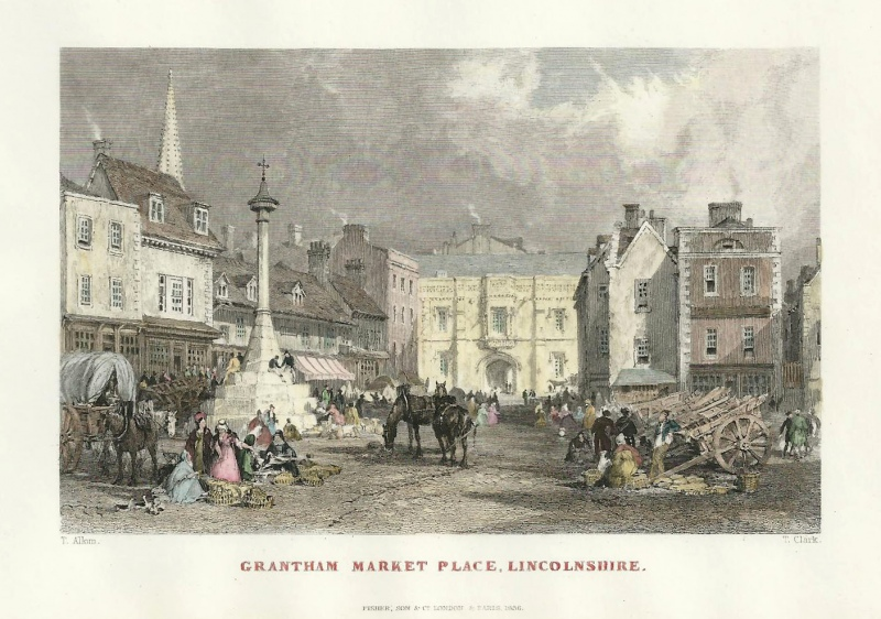 'GRANTHAM MARKET PLACE LINCOLNSHIRE.' by T. Allom / T. Clark c.1836