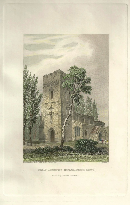 'GREAT ADDINGTON CHURCH_NORTH HANTS.' by Rev'd G. A. Poole / F. Mackenzie / J. H. Le Keux c.1848