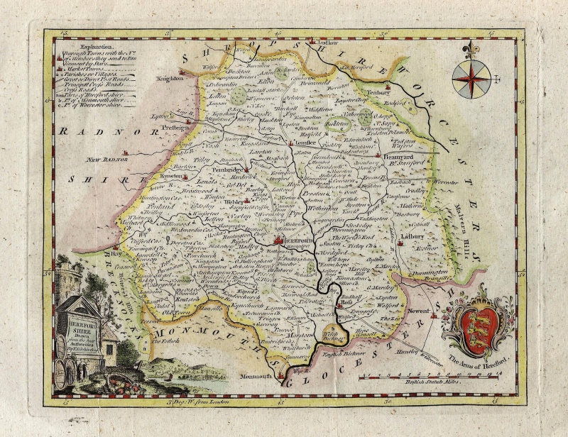 'HEREFORD SHIRE Drawn from the best Authorities' by T. Kitchin c.1786-1798