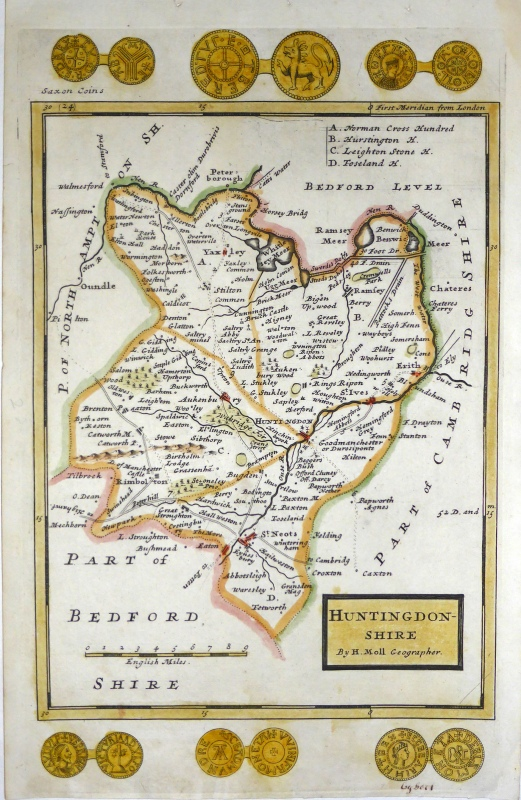 'HUNTINGDON-SHIRE By H. Moll Geographer.' c.1724/1739