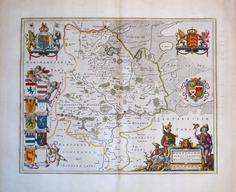 'HUNTINGDONENSIS COMITATUS HUNTINGTON SHIRE' by Joan Blaeu c.1648 (Dutch text)