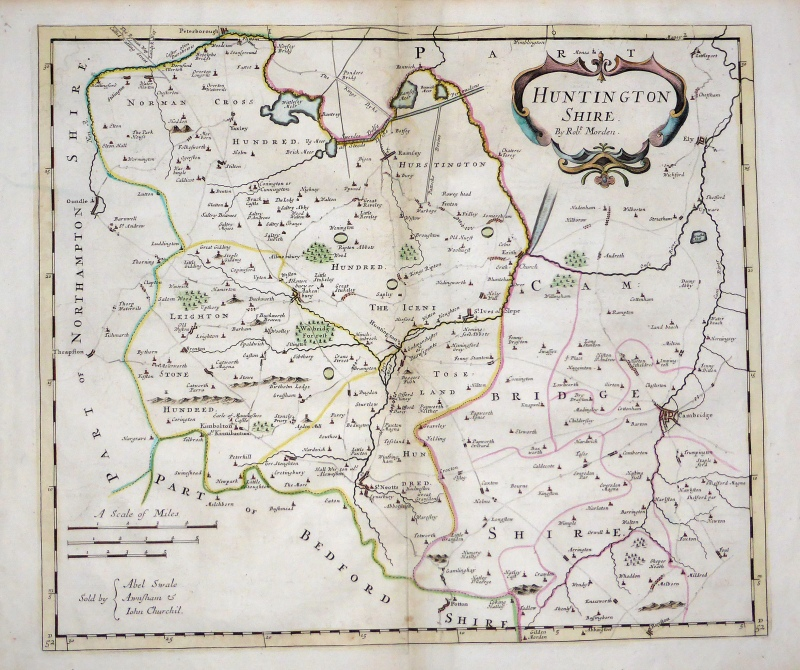 'HUNTINGTON SHIRE' (Huntingdonshire) by Robert Morden c.1695 (First Edition)