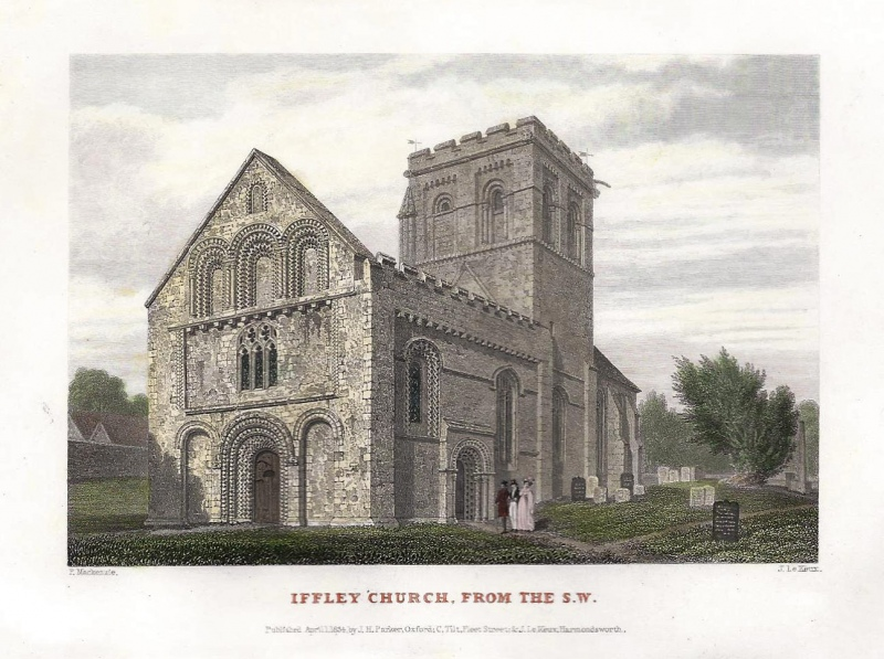 'IFFLEY CHURCH FROM S. W.' by F. Mackenzie / J. Le Keux c.1834