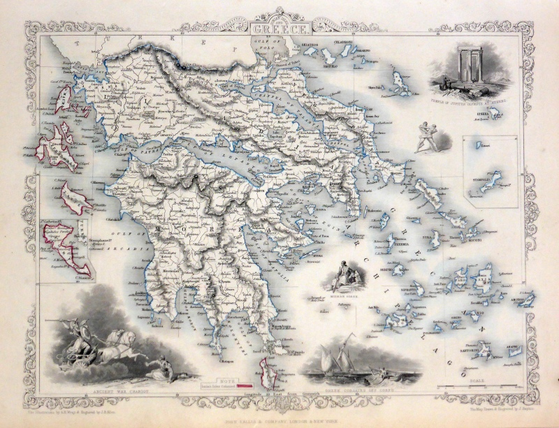 'IONIAN ISLES AND GREECE.' by John Tallis & co. / J. Rapkin c.1851