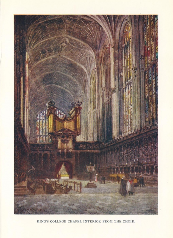 'KING'S COLLEGE CHAPEL INTERIOR FROM THE CHOIR.' by W. Matthison c.1922