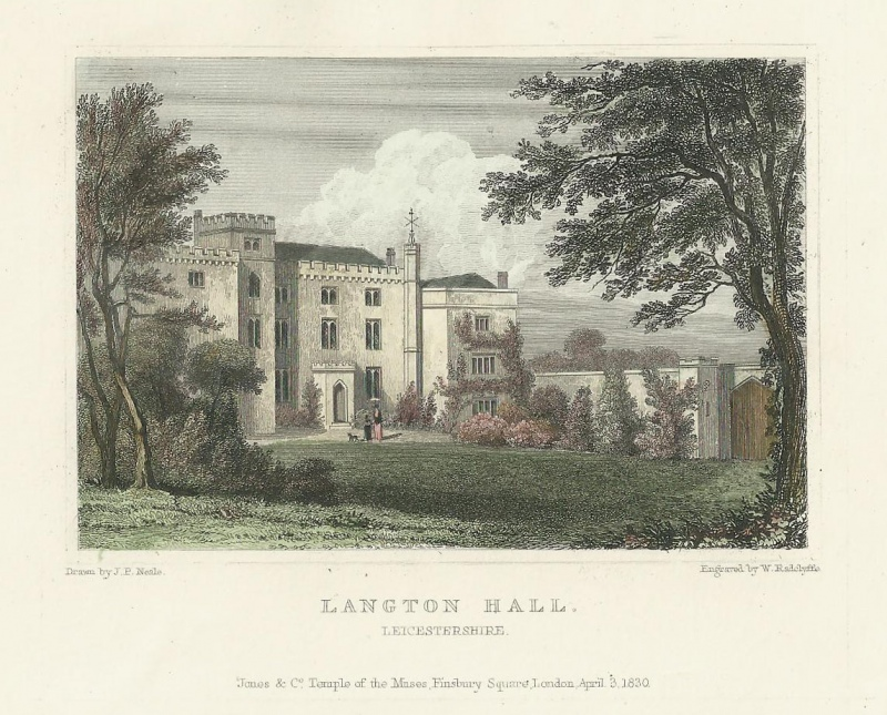 'LANGTON HALL LEICESTERSHIRE' by J. P. Neale / W. Radclyffe c.1830
