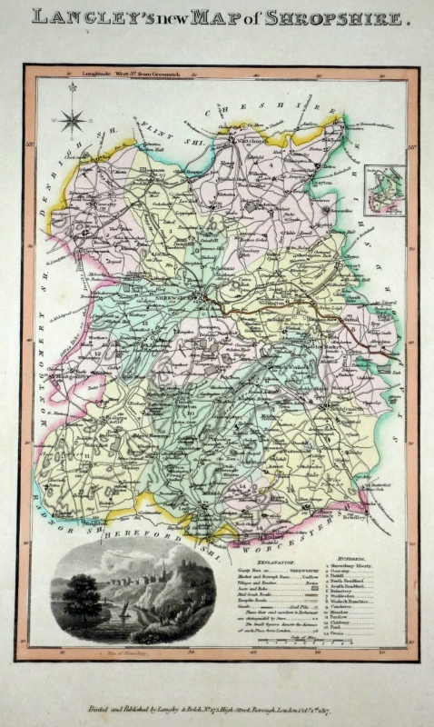 'LANGLEY'S new MAP of SHROPSHIRE' by Langley & Belch c.1817