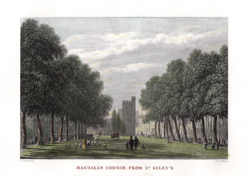 'MAGDALEN CHURCH FROM ST. GILES.' (Oxford) by F. Mackenzie / J. Le Keux c.1833