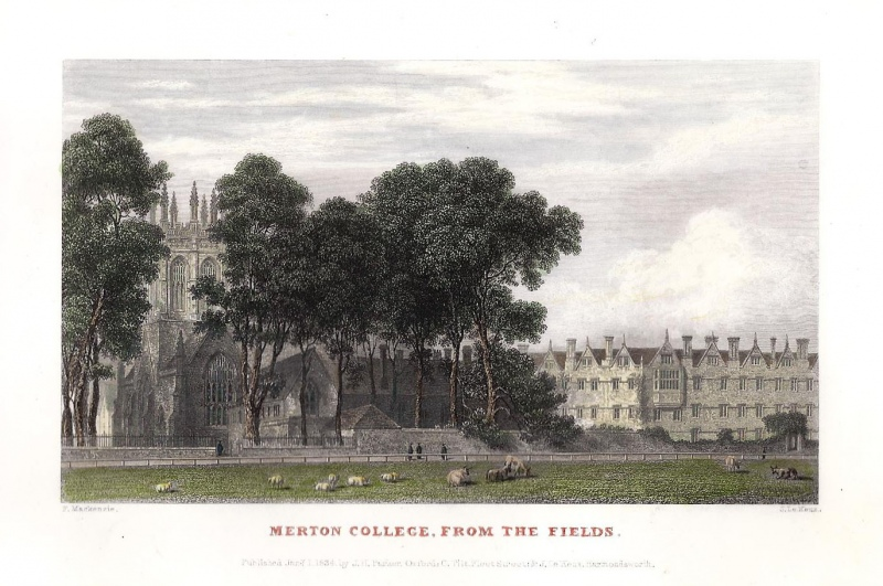 'MERTON COLLEGE FROM THE FIELDS.' (Oxford) by F. Mackenzie / J. Le Keux c.1834