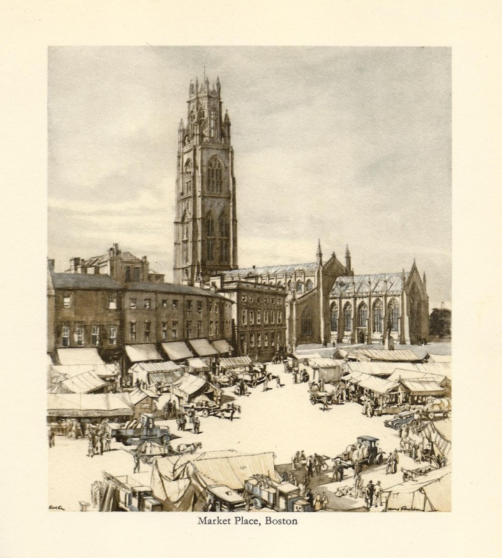 'Market Place Boston' by Henry Rushbury R. A. c.1936