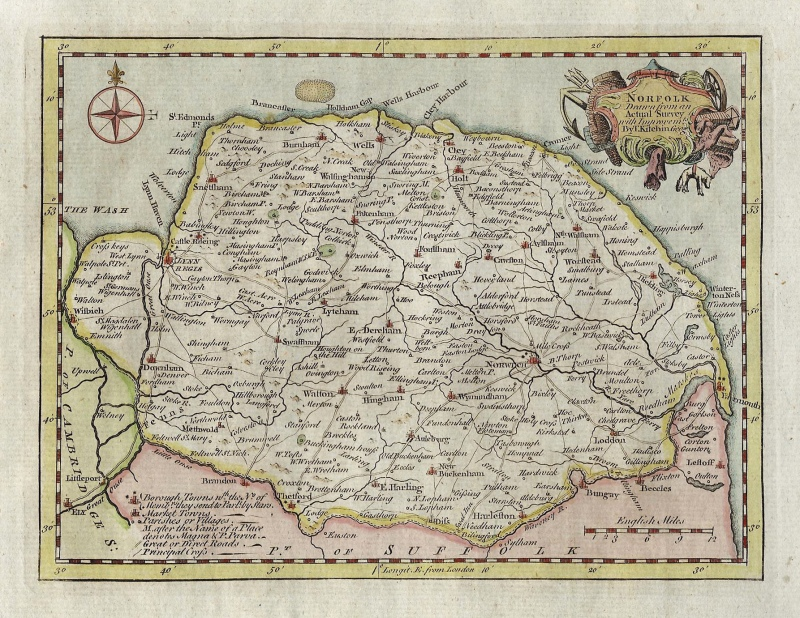 'NORFOLK Drawn from an Actual Survey...' by Thomas Kitchin c.1786 (ex Boswell Atlas)