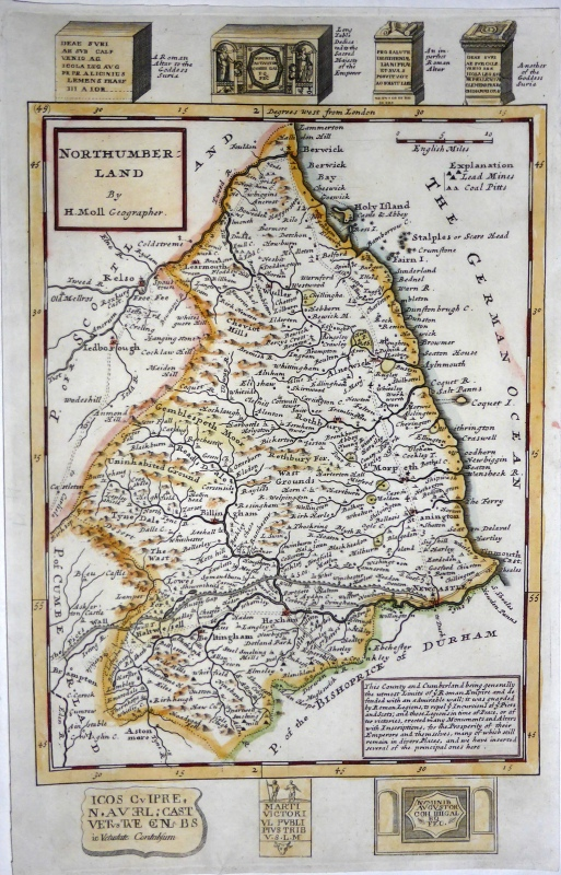 'NORTHUMBERLAND By H. Moll Geographer' c.1724/1739