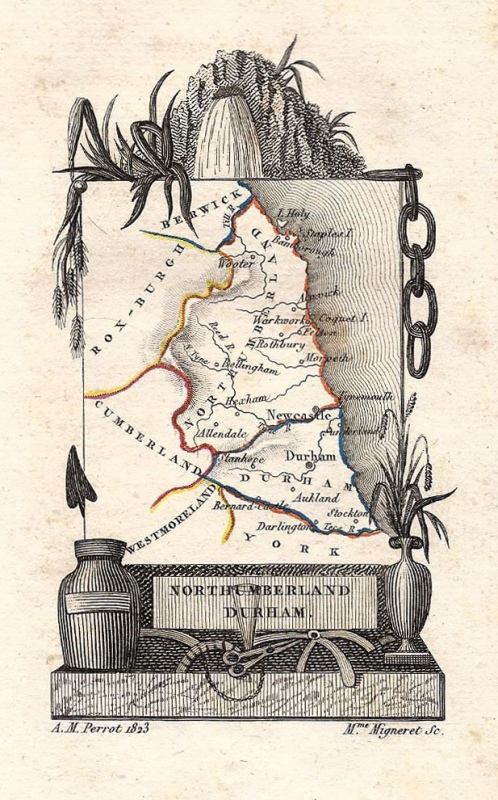 'NORTHUMBERLAND DURHAM.' by A. M. Perrot / Migneret c.1824-1835