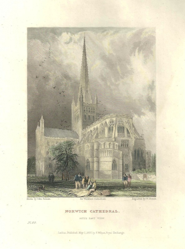 'NORWICH CATHEDRAL North East View.' by J. Salmon / W. French / H. & B. Winkles c.1836-1842