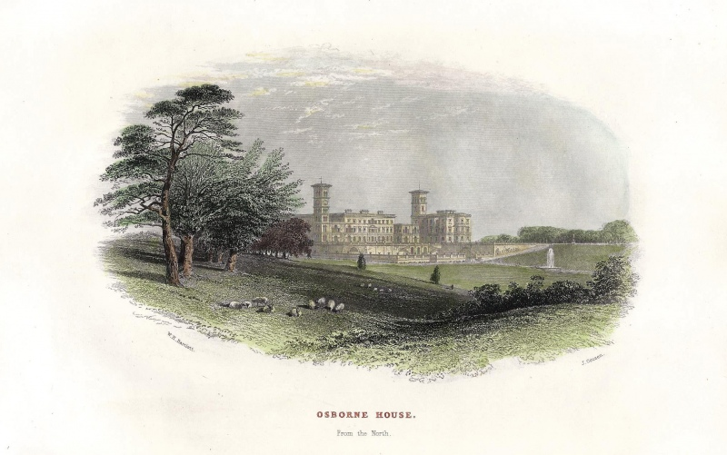 'OSBORNE HOUSE. From the North.' by W. H. Bartlett / J. Cousen c.1860